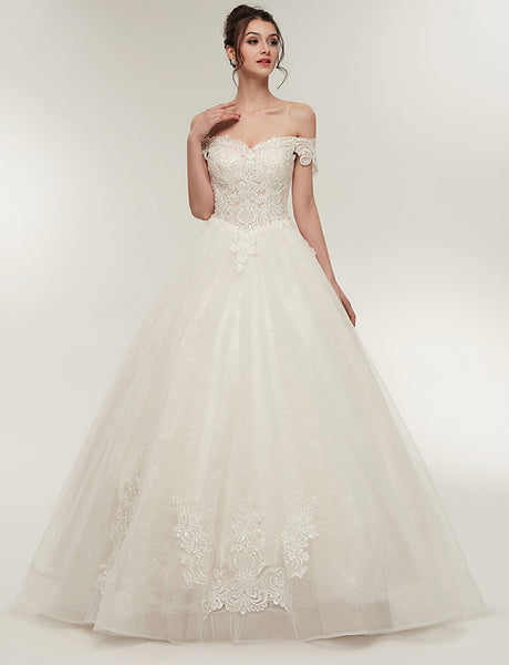 A Line Floor Length Off-the-Shoulder Wedding Dress with Appliques Short Sleeves