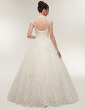 High Neck Cap Sleeves White Vintage Wedding Dress with Appliques Beading - ericprom