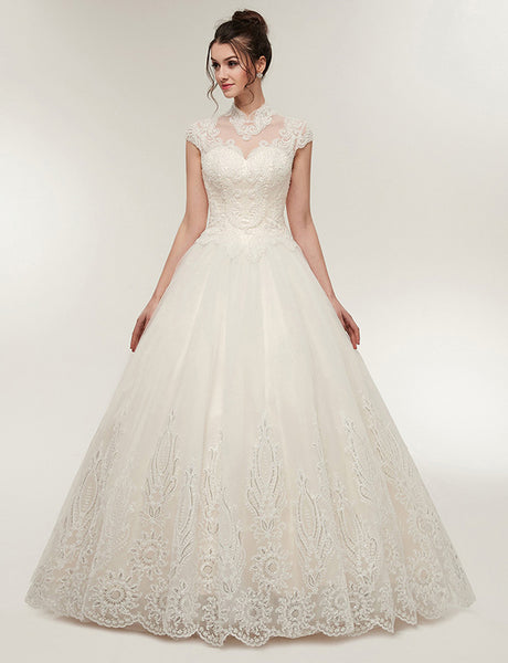 High Neck Cap Sleeves White Vintage Wedding Dress with Appliques Beading