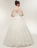 Unique A Line Jewel Cap Sleeves Tulle Wedding Dress with Appliques Beading Tassel