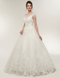 Unique A Line Jewel Cap Sleeves Tulle Wedding Dress with Appliques Beading Tassel - ericprom