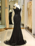 Mermaid Spaghetti Straps Long Black Prom Dress with Beading Evening Gown - ericprom