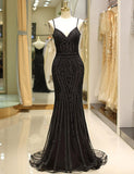 Mermaid Black Prom Dress with Beading Evening Gown