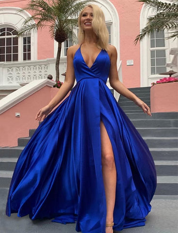 A Line Royal Blue Long Prom Party Dress - ericprom