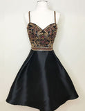 Fashion A Line Spaghetti Straps Black Satin Homecoming Dress with Beading - ericprom