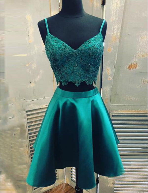Two Piece Homecoming Dress Spaghetti Straps Turquoise Cocktail Dress with Lace - ericprom