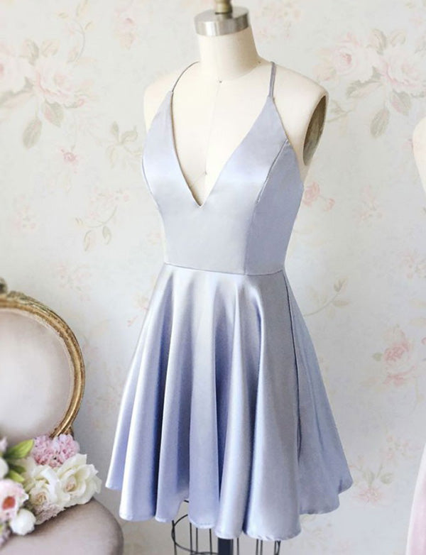 Hot A Line Spaghetti Straps Criss-Cross Straps Blue Satin Mini Homecoming Dress - ericprom