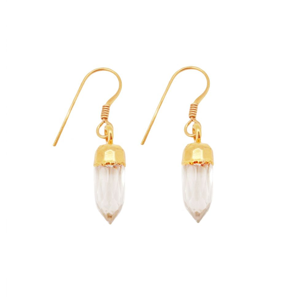Mirabelle Mini Point Earrings on Hook- White Moonstone