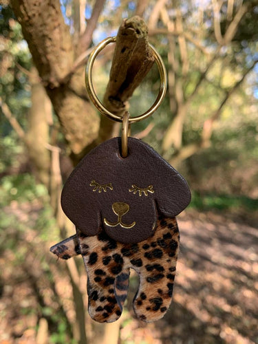 Abi Williams Leather Dog Keyring- Animal Print