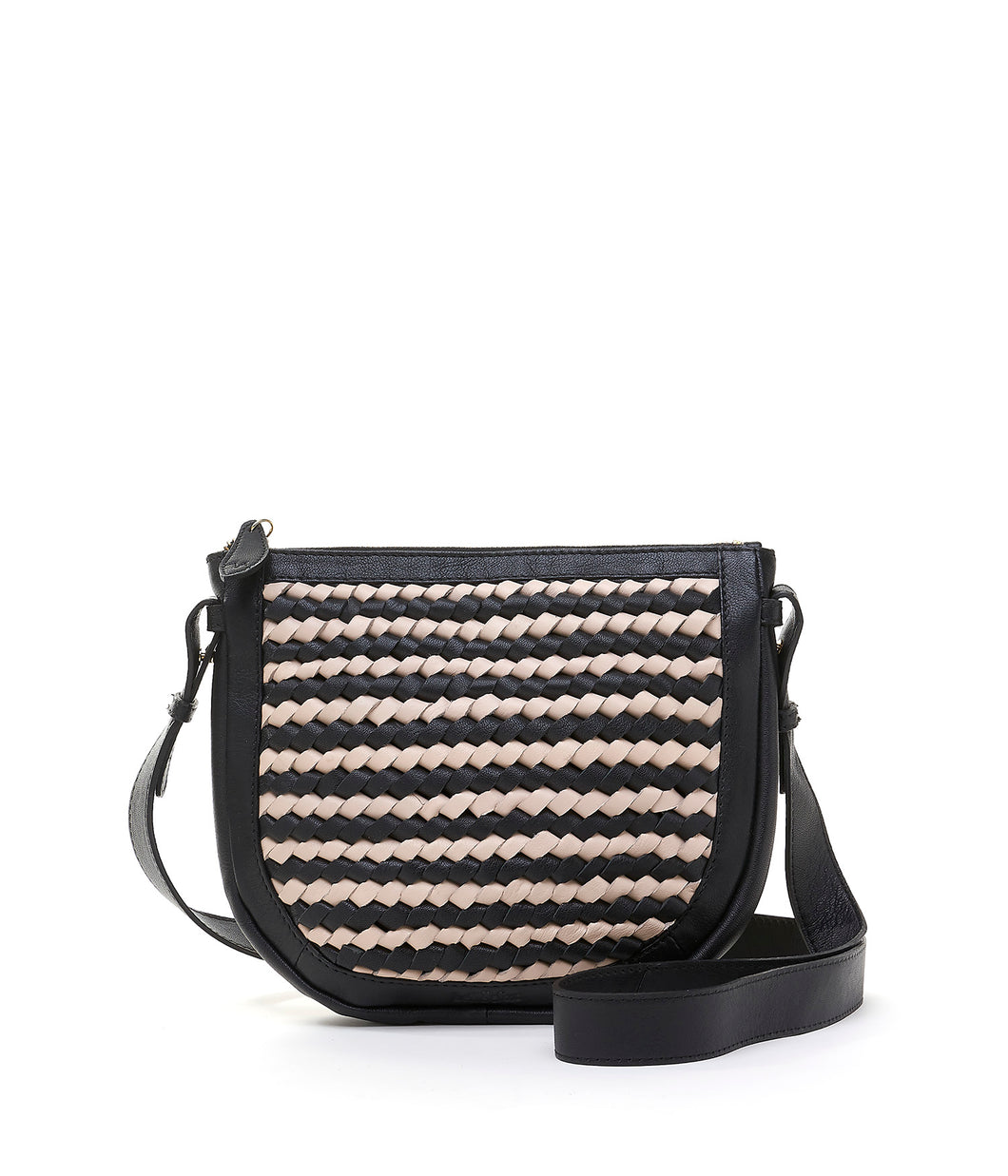Bell & Fox Caro Leather Cross Body Bag- Black and Cream