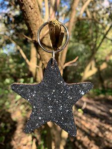 Abi Williams Sparkle Leather Star Keyring- Black Glitter