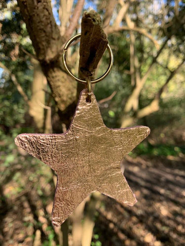 Abi Williams Leather Star Keyring- Bright Gold