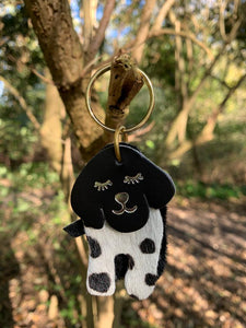 Abi Williams Leather Dog Dalmatian Keyring- Dalmatian Print