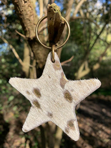 Abi Williams Leather Star Keyring- Gold Metallic