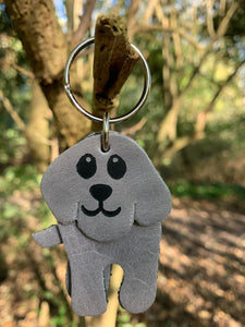Abi Williams Leather Dog Keyring- Grey