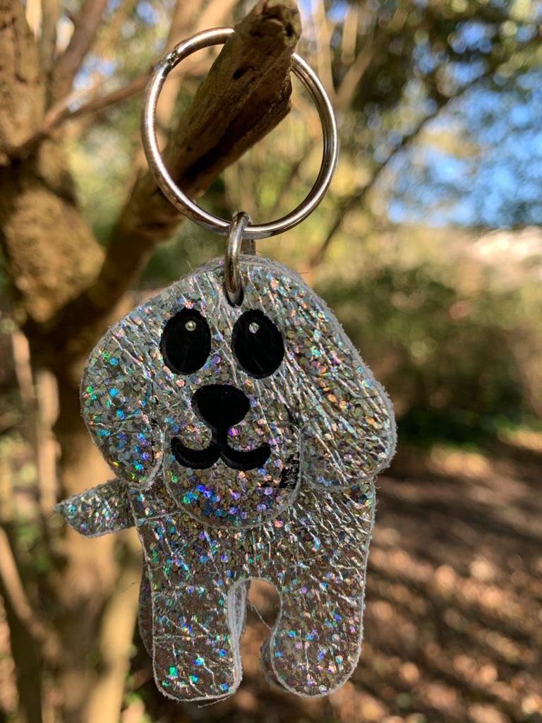 Abi Williams Leather Dog Keyring- Iridescent Silver