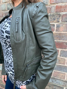 MDK Rucy Leather Jacket- Khaki
