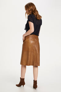 Saint Tropez Britt Leather Skirt Below The Knee- Otter