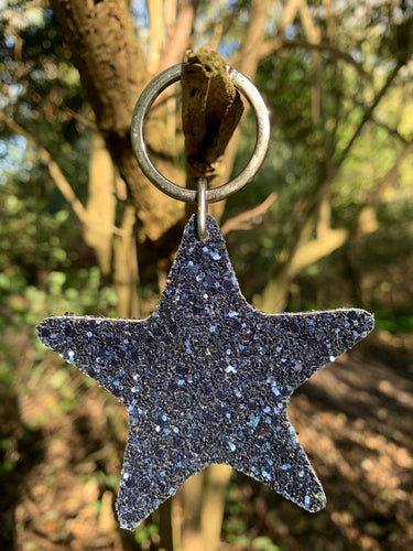Abi Williams Leather Sparkle Star Keyring- Navy