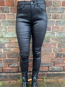 BILLI Patterned Coated Jeans- Black