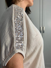 Load image into Gallery viewer, Sequin Shoulder Top- Cream
