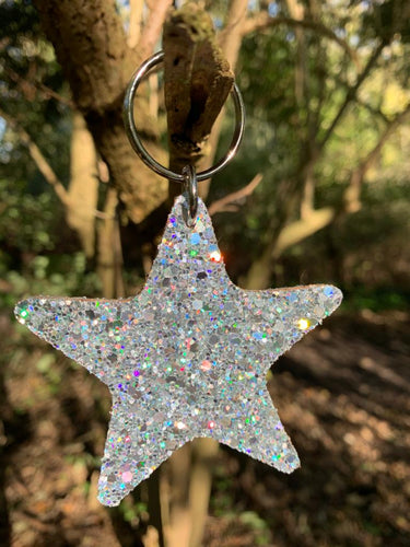 Abi Williams Leather Sparkle Star Keyring- Silver
