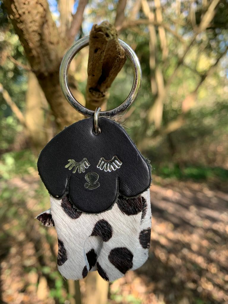Abi Williams Leather Dog Keyring- Black and White Spot