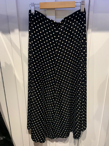 Onjenu Velvet Polka Dot Skirt- Black and White
