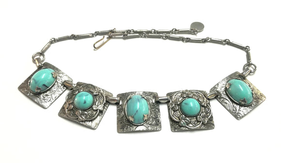 1940's Vintage Silveroid Turquoise oval stone necklace