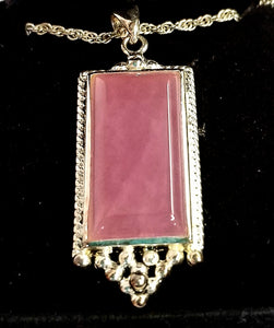 Rose Quartz Rectangular Necklace