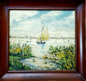 Vintage Dutch Sailboat w/ windmills in background painting