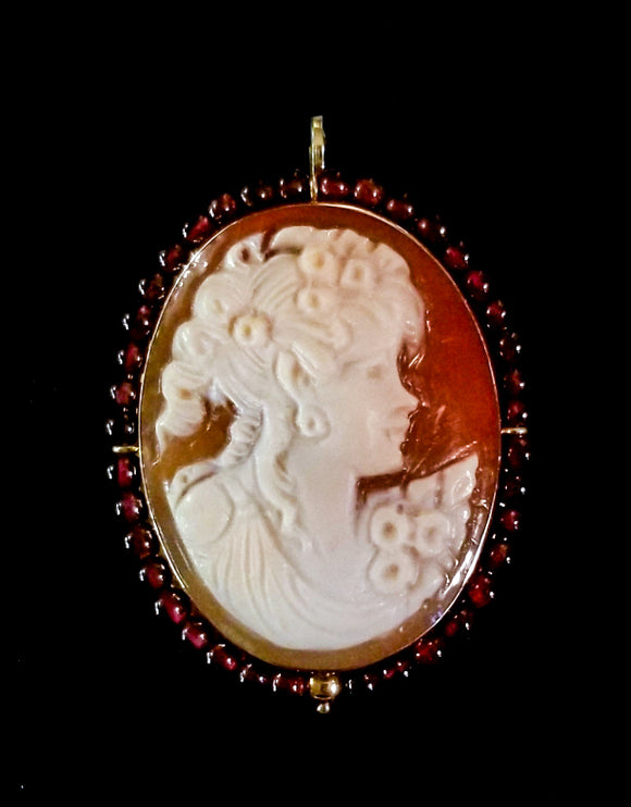 Ivory Cameo with Garnets