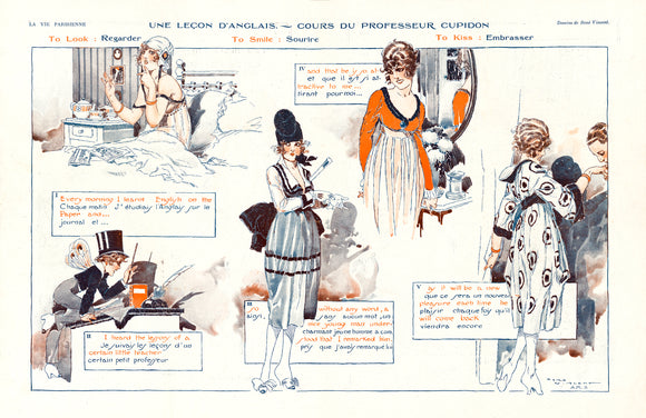 Poster Cupid's English Lesson from August 1918 La Vie Parisienne