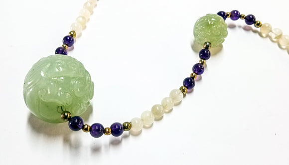 Carved Jade & Amethyst necklace