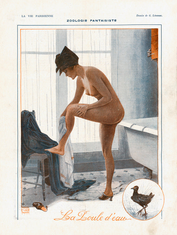 Poster Nude woman bathing from La Vie Parisienne August 1918