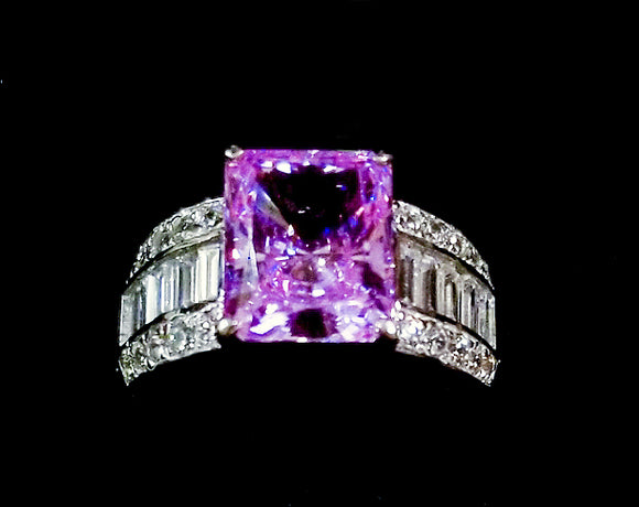 Amethyst and Zircon Ring