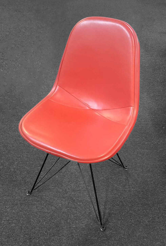 Vintage Orange Upholstered Wire Base Chair