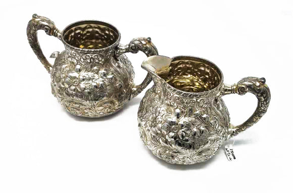 Silver Creamer and Sugar Bowl Set