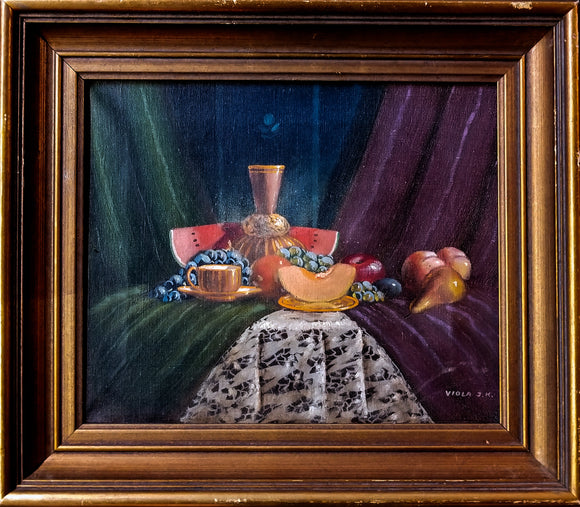 Still Life Fruit on table with Magenta and Green curtains