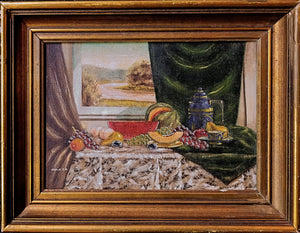 Still Life with table, curtains and picture in background