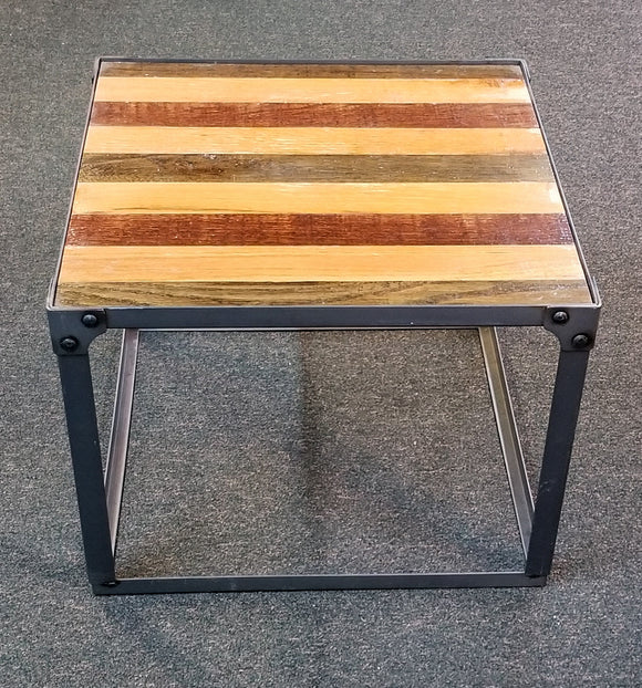 James Phillips Reclaimed Wood Striped Side Table