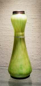 Green Art Glass Vase with SIlver Collar