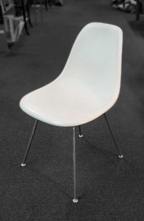 White Vintage Eames Parchment Shell Hi Base Chairs