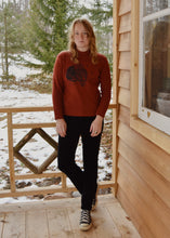 Load image into Gallery viewer, [OOAK] Red/Rust Owl Moon Mock Neck - Women's L