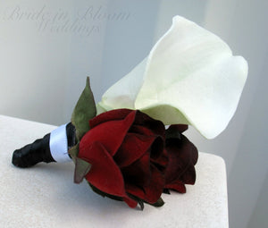 Wedding boutonniere - White calla lily black bacarra red rose - Prom boutonniere