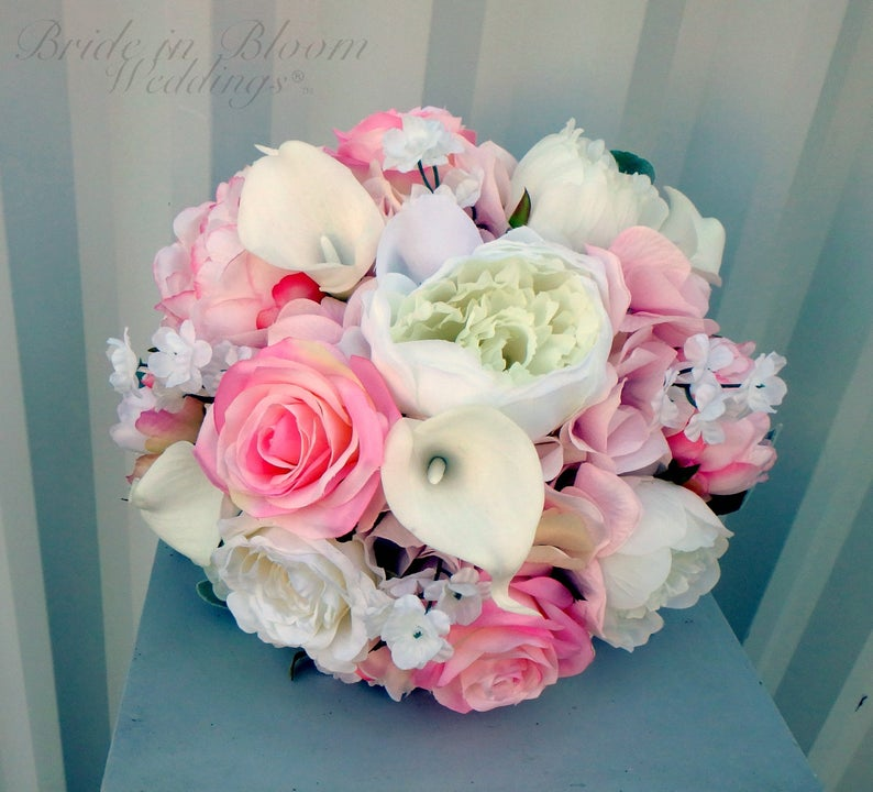 Pink peony wedding bouquet - Rose garden Weddings - Silk Wedding flowers