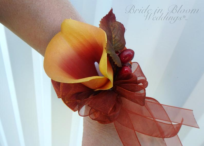 Fall wrist corsage - Orange real touch calla lily Wedding corsage