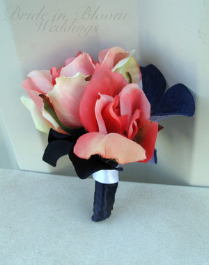 Coral rose white Boutonniere - Silk wedding boutonnieres - Prom boutonniere