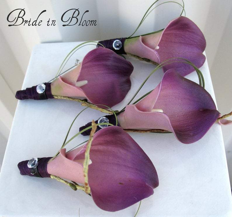 Plum calla lily boutonnieres