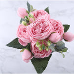 Silk Peony Bouquet flowers 4 buds - DIY Wedding Flowers